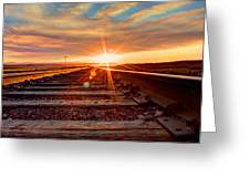 Sunset On The Rails Greeting Card