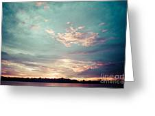 Sunset On The River In The Peruvian Amazon Jungle Greeting Card