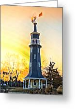 Sunset On The Windmill Greeting Card