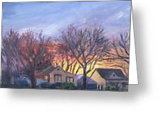 Sunset On Travis Ave. Greeting Card