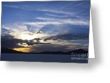Sunset On Uyuni Salt Flats Greeting Card
