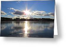 Sunset Ove A Frozen Pond Greeting Card