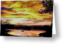 Sunset Over A Country Pond Greeting Card