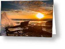 Sunset Over A Rough Sea I Greeting Card