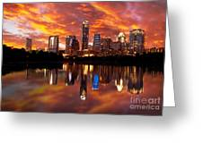 Sunset Over Austin Greeting Card