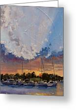 Sunset Over Bay Point Greeting Card by Laura Lee Zanghetti