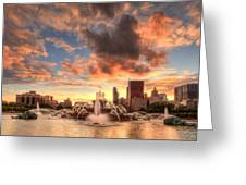 Sunset Over Buckingham Fountain Greeting Card