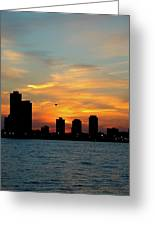 Sunset Over Chicago 0349 Greeting Card
