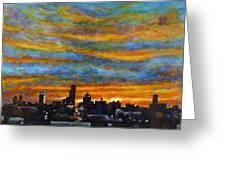 Sunset Over Dayton Ohio Skyline Greeting Card