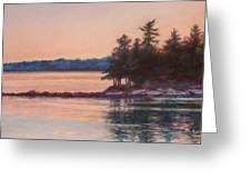 Sunset Over Emerald Point Lake Sebago Maine    Greeting Card by Denise Horne-Kaplan