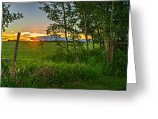 Sunset Over Farmers Field Greeting Card