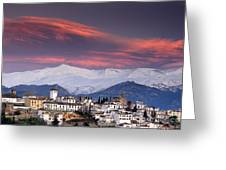 Sunset Over Granada And The Alhambra Castle Greeting Card