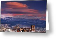 Sunset Over Granada And The Cathedral Greeting Card