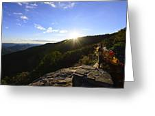 Sunset Over Halloween Decorations On Black Rock Mountain Greeting Card