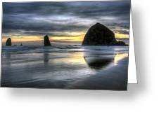 Sunset Over Haystack Rock In Cannon Beach Greeting Card