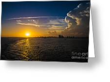 Sunset Over Miami From Out At Sea Greeting Card
