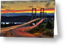 Sunset Over Narrows Bridges Greeting Card