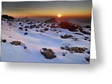 sunset over National park Sierra Nevada Greeting Card