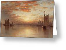 Sunset Over New York Bay Greeting Card
