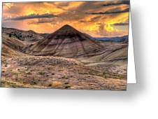 Sunset Over Painted Hills In Oregon Greeting Card