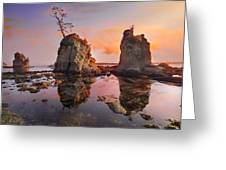 Sunset Over Pig And Sow Inlet At Oregon Coast Greeting Card