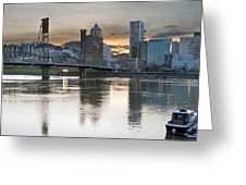Sunset Over Portland City Skyline Panorama Greeting Card