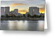 Sunset Over Portland Downtown Skyline Greeting Card