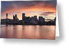 Sunset Over Portland Oregon Waterfront Panorama Greeting Card