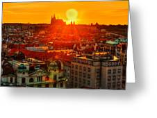 Sunset Over Prague Greeting Card
