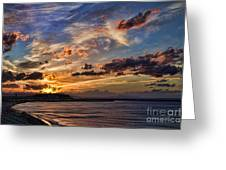 Sunset Over Rethymno Crete Greeting Card