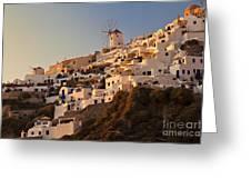 Sunset Over Santorini Village Greeting Card