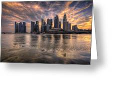 Sunset Over Singapore Skyline Greeting Card
