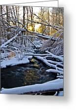 Sunset Over Snowy Mammoth Creek Greeting Card