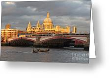 Sunset Over St Pauls Cathedral London Greeting Card