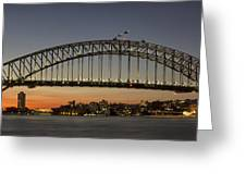 Sunset Over Sydney Harbour Bridge Greeting Card