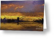 Sunset Over Sydney Harbour A Turneresque View Greeting Card