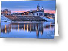 Sunset Over The Clinton County Courthouse Greeting Card