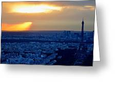 Sunset Over The Eiffel Tower Greeting Card