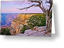 Sunset Over The Grand Canyon From South Rim Trail In Grand Canyon National Park-arizona   Greeting Card
