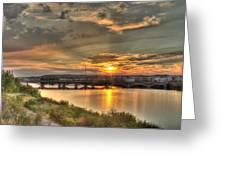 Sunset Over The Great Falls Greeting Card