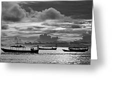 Sunset Over The Gulf Of Thailand Black And White Greeting Card