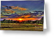 Sunset Over The Hay Field Greeting Card