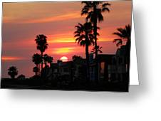Sunset Over The Homes Of Newport Beach Greeting Card