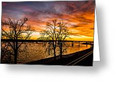 Sunset Over The Mississippi River Greeting Card