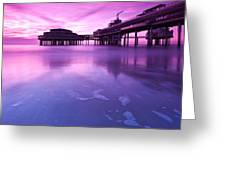 Sunset Over The Pier Greeting Card