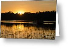 Sunset Over The Pontoon 4 Greeting Card