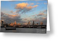 Sunset Over The River Thames London Greeting Card