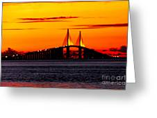 Sunset Over The Skyway Bridge Crop Greeting Card