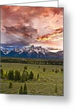 Sunset Over The Tetons  Greeting Card