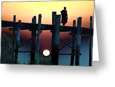 Sunset Over The U Bein Foot Bridge 2 Greeting Card